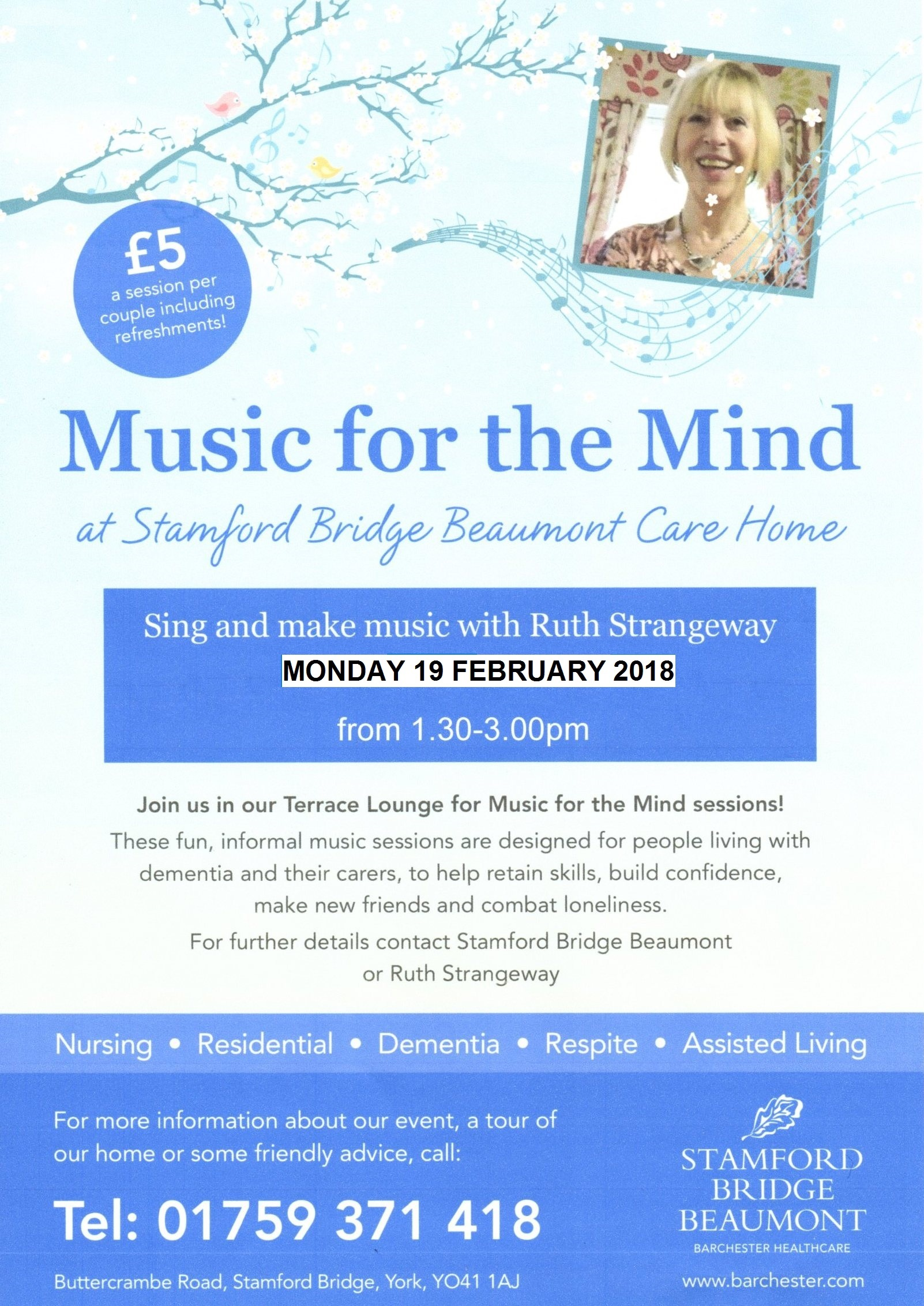 Music for the Mind Next Session 19 February 2018